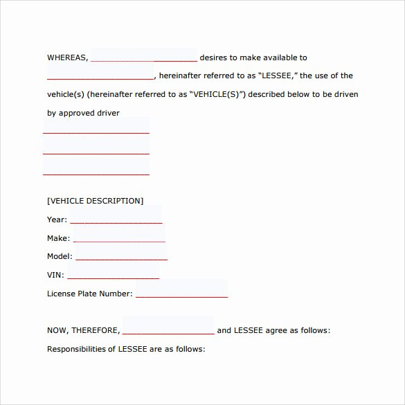 Truck Lease Agreement Template Lovely Vehicle Lease Agreement