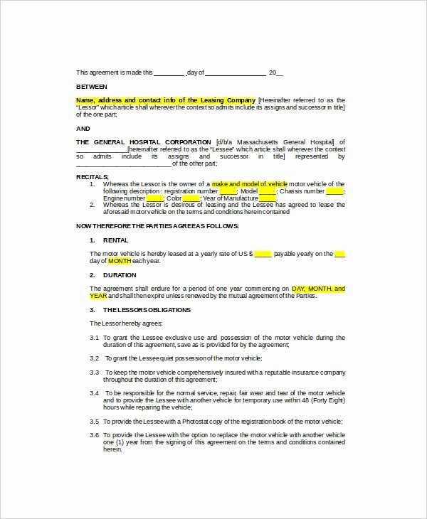 Truck Lease Agreement Template New 11 Sample Vehicle Lease Templates Pages Docs