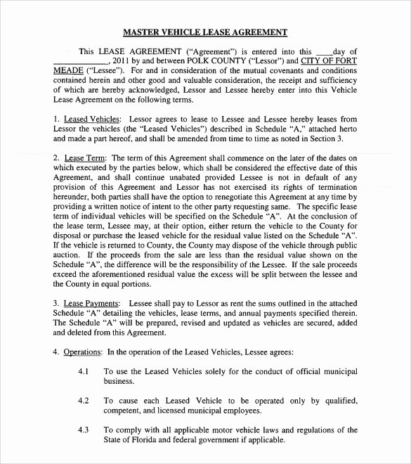 Truck Lease Agreement Template New Sample Vehicle Lease Agreement Template 14 Free