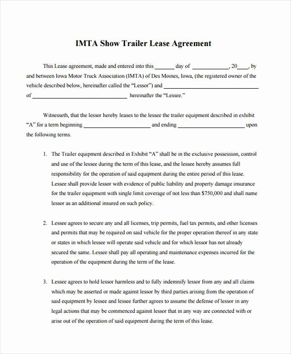 Truck Lease Agreement Template Unique Free 9 Sample Truck Lease Agreements In Pdf