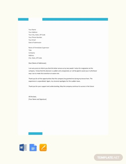 Two Weeks Notice Template Word Awesome Free Two Weeks Notice Resignation Letter Template Pdf
