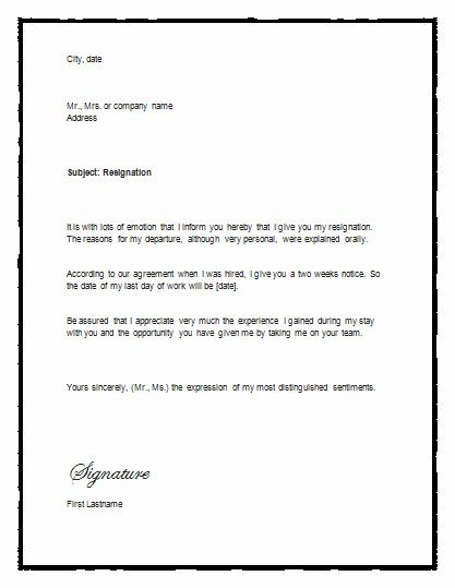 Two Weeks Notice Template Word Best Of Sample Letter Of Resignation with Notice – Resignation Letter