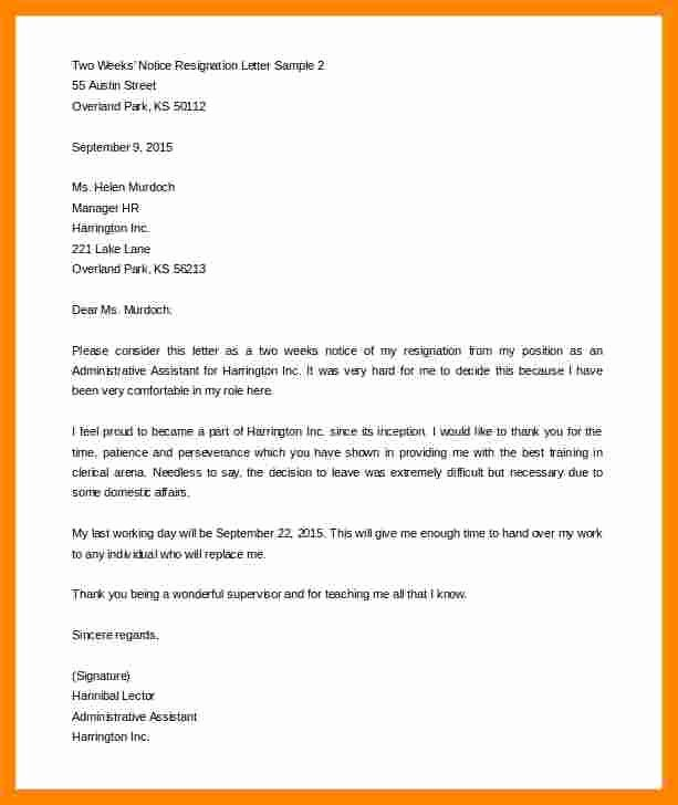 Two Weeks Notice Template Word Inspirational 12 Two Week Notice Resignation Letter