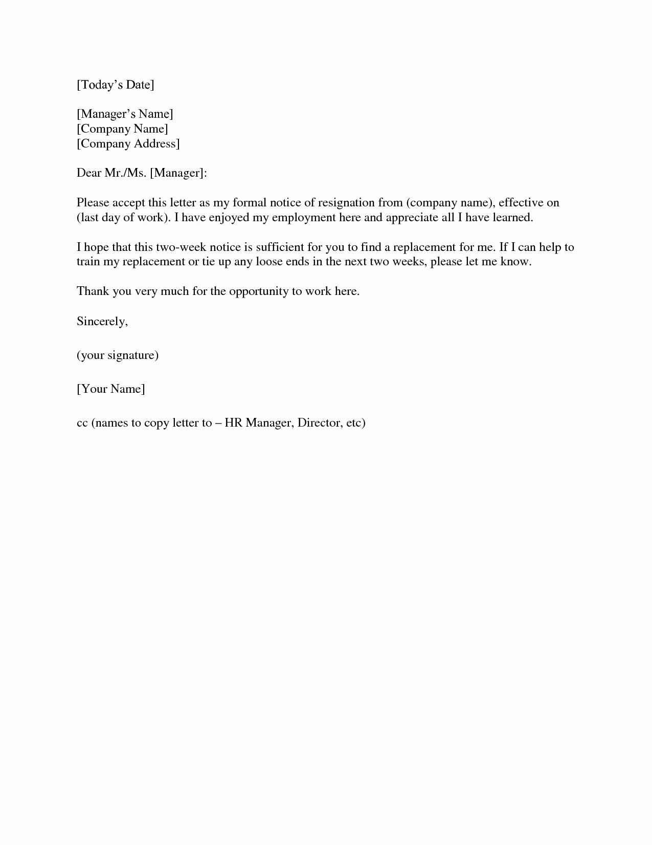 Two Weeks Notice Template Word Inspirational 2 Week Notice Letter Template