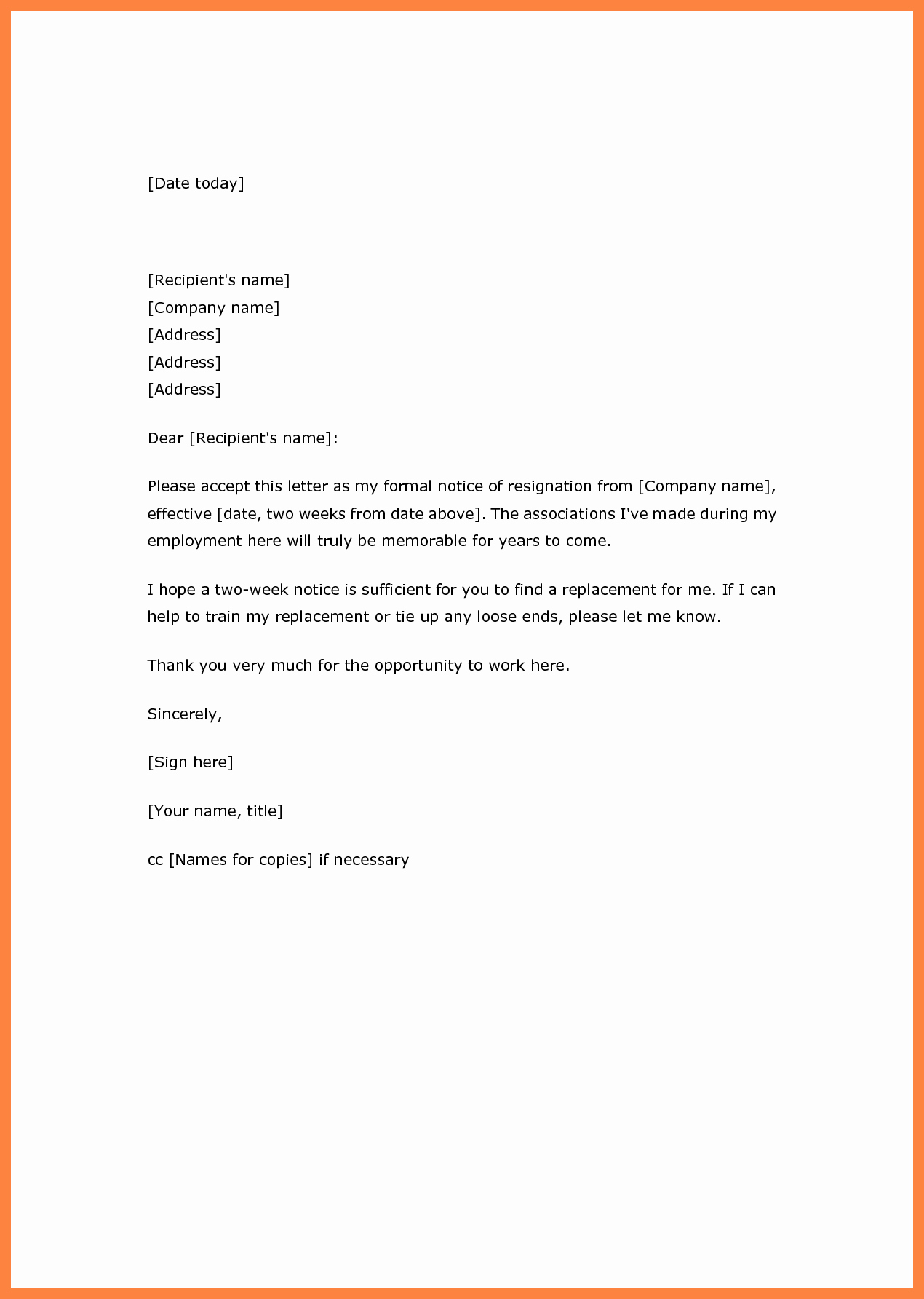Two Weeks Notice Template Word Inspirational 2 Weeks Notice Template