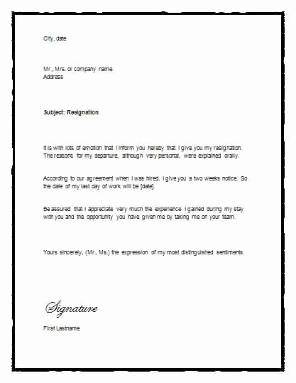 Two Weeks Notice Template Word Luxury 5 Free Two Weeks Notice Letter Templates Word Excel