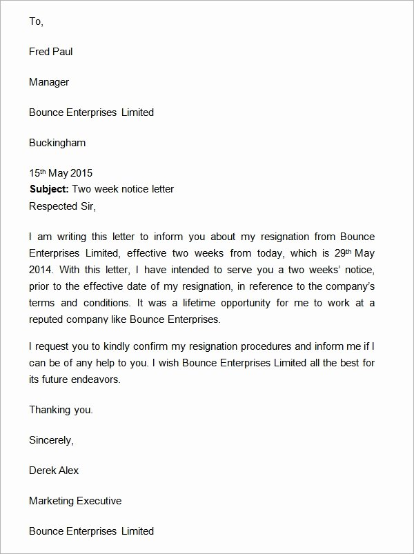 Two Weeks Notice Template Word Luxury Two Weeks Notice Letter 12 Download Free Documents In Word