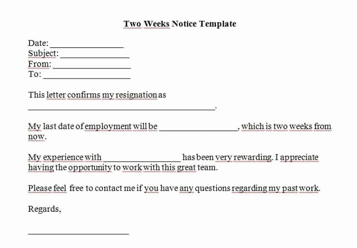 Two Weeks Notice Template Word Unique 5 Free Two Weeks Notice Letter Templates Word Excel