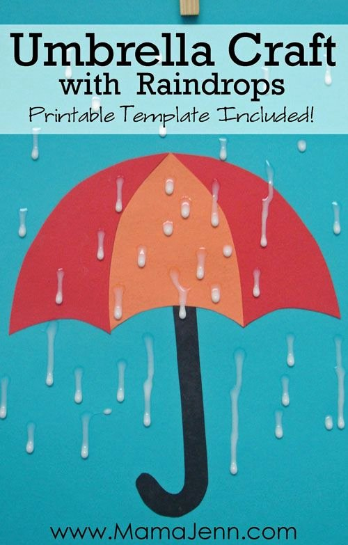 Umbrella Template for Preschool Fresh Umbrella Craft with Raindrops