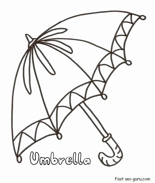 Umbrella Template for Preschool Lovely Printable Umbrella Coloring In Pages for Preschool