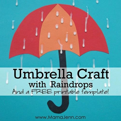 Umbrella Template for Preschool Luxury Umbrella Craft with Raindrops Kids Art