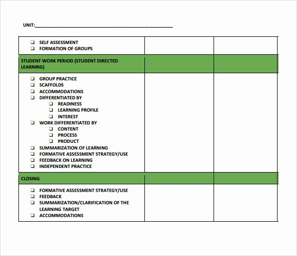 Unit Lesson Plan Templates Awesome Sample Unit Lesson Plan 7 Documents In Pdf Word
