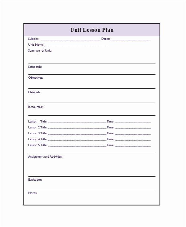 Unit Lesson Plan Templates Elegant Printable Lesson Plan 7 Free Word Pdf Documents