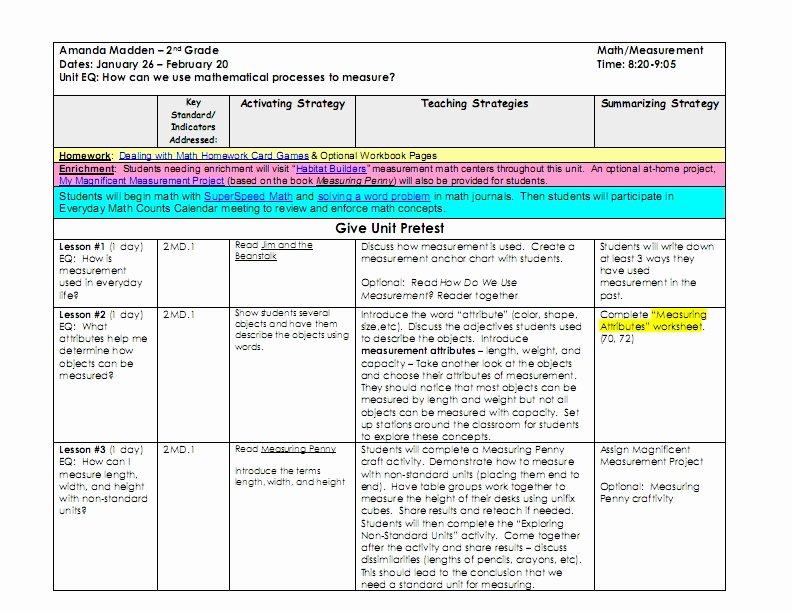 Unit Lesson Plan Templates Fresh Lesson Plan Series Differentiating Unit Plans