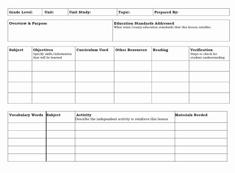 Unit Lesson Plan Templates Fresh Unit Study Lesson Plan Template