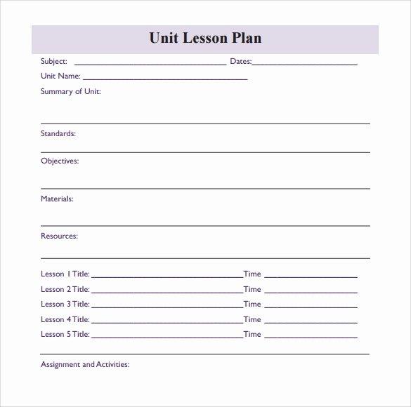 Unit Lesson Plan Templates Unique Sample Blank Lesson Plan 10 Documents In Pdf