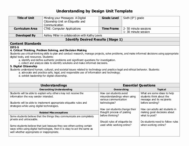 Unit Lesson Plans Template Beautiful Digital Citizenship Collaborative Unit Lesson Plan
