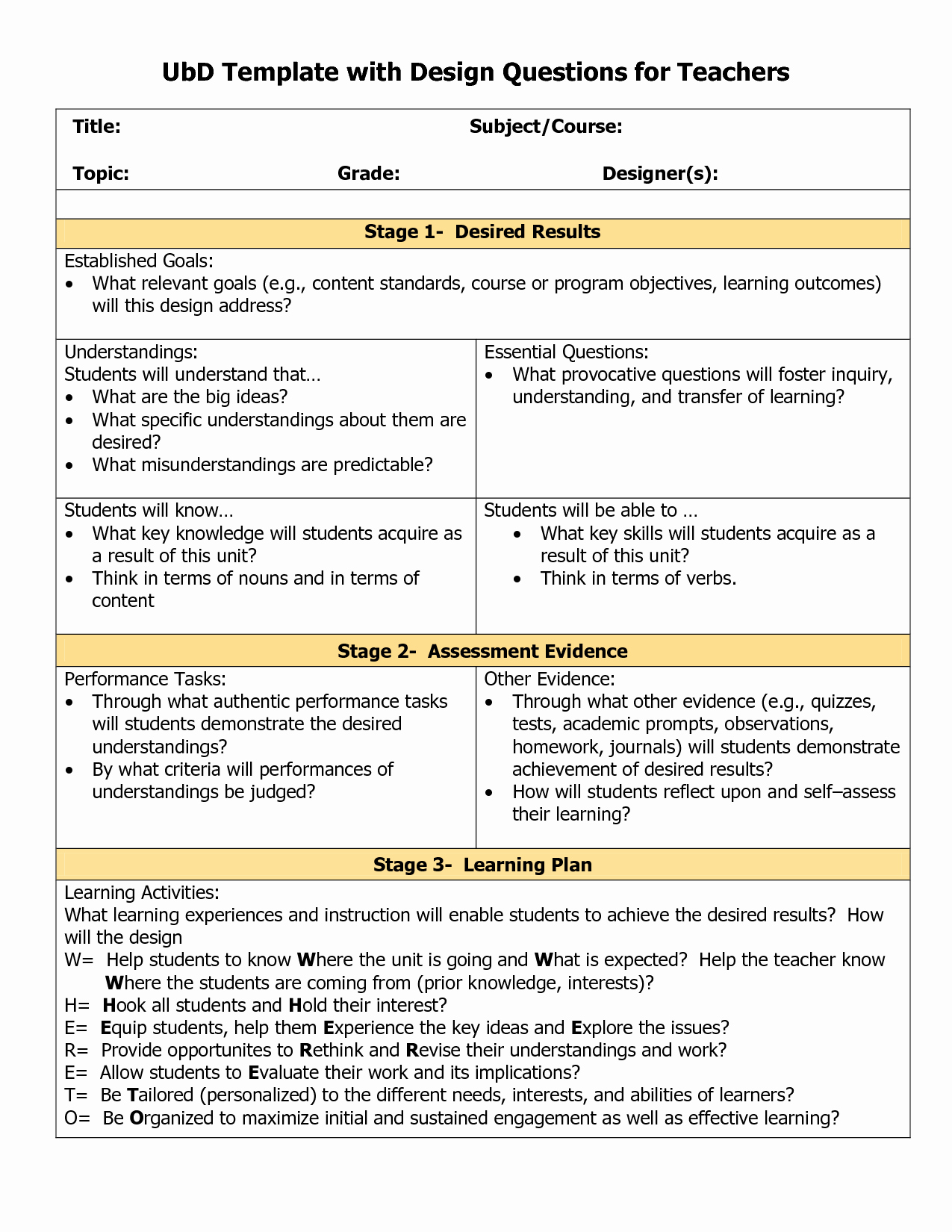 Unit Lesson Plans Template Elegant Blank Ubd Template Things for the Classroom