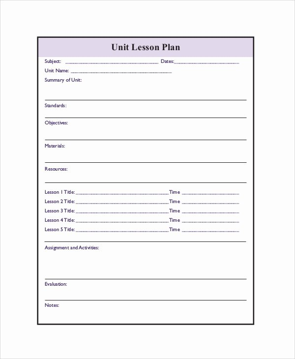 Unit Lesson Plans Template Lovely Printable Lesson Plan 7 Free Word Pdf Documents