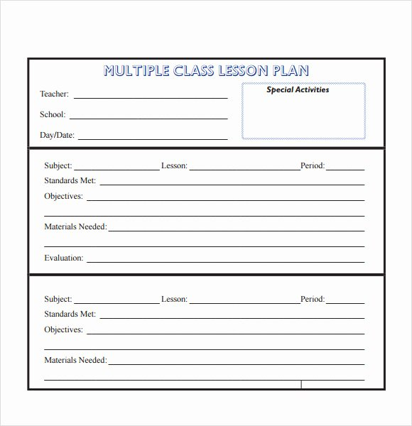 Unit Lesson Plans Template New Free 8 Sample Lesson Plans In Pdf