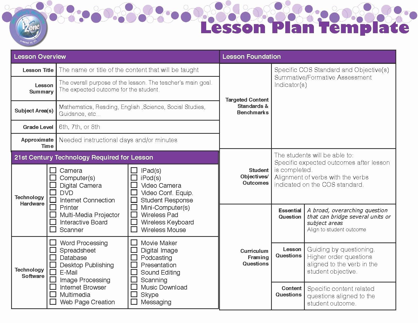 Unit Lesson Plans Template New Lesson Plan Template