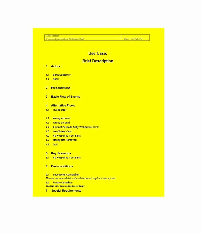 Use Case Template Examples Best Of 43 Free Use Case Templates & Examples Word Pdf Free
