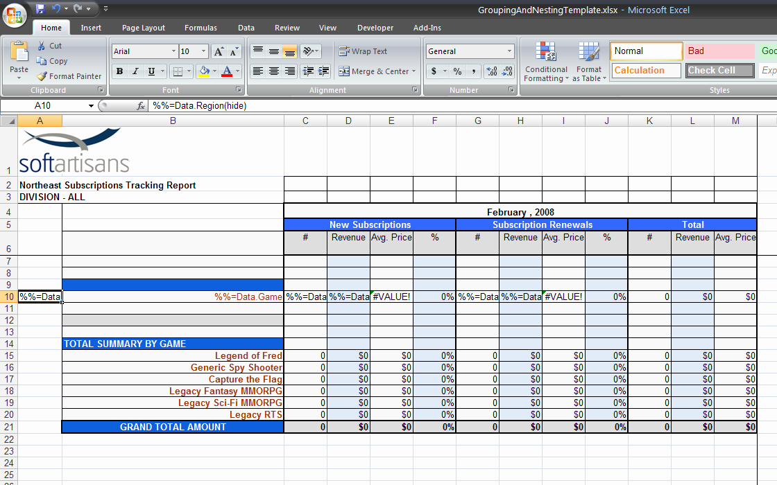 Use Case Template Excel Fresh Grouping and Nesting Sample Excelwriter V8 Docs