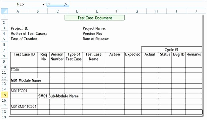 Use Case Template Excel New Test Case Sample Simple Test Case with Precondition and