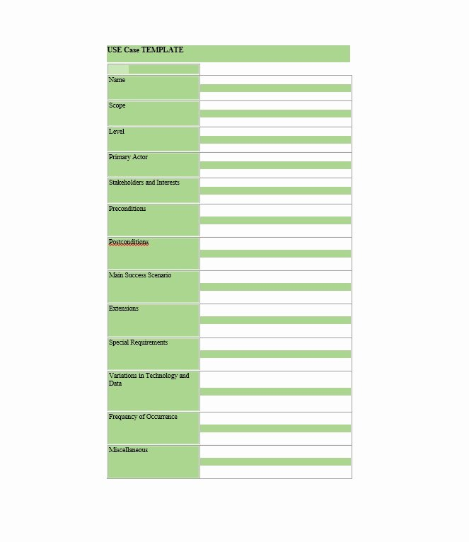 Use Case Templates Examples Best Of 40 Use Case Templates & Examples Word Pdf Template Lab