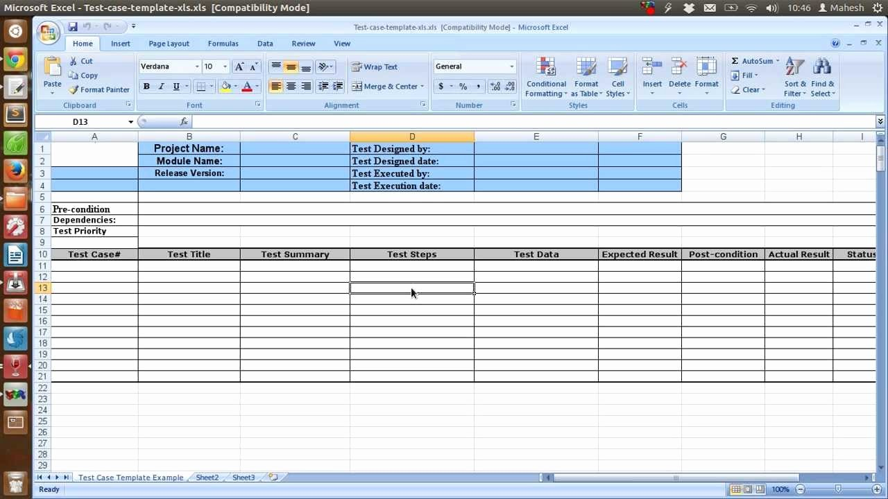 Use Cases Template Excel New Sample Test Case Template