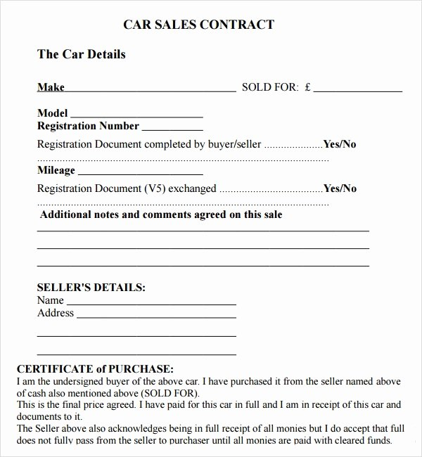Used Car Contract Template Beautiful Sales Agreement Template