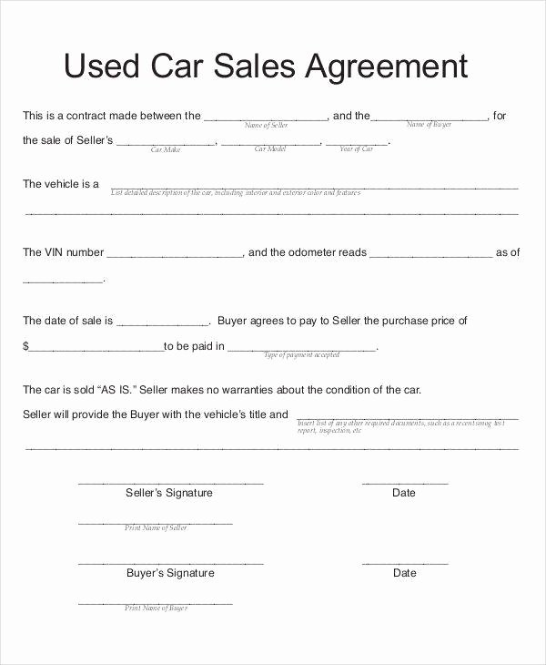 Used Car Contract Template Luxury 8 Car Sales Contract Samples & Templates In Pdf