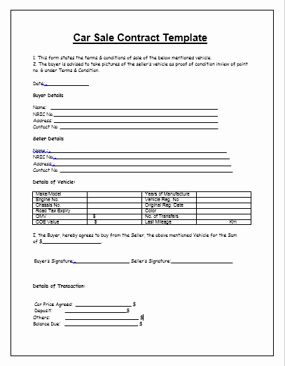 Used Car Contract Template New Printable Contract for Selling A Used Car