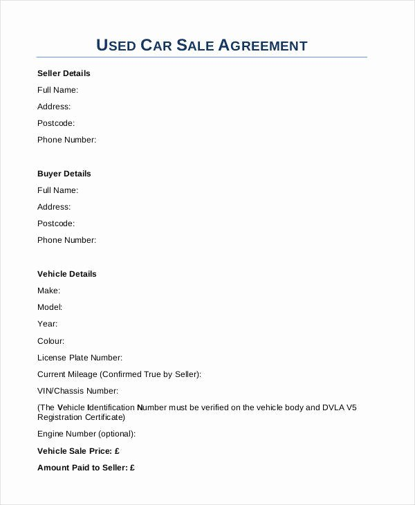Used Car Contract Template Unique 8 Car Sales Contract Samples & Templates In Pdf