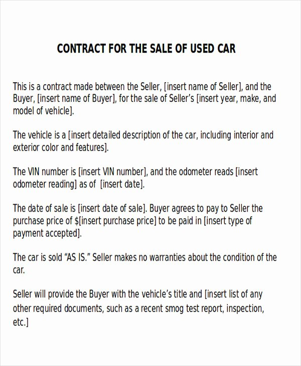 Used Car Contract Template Unique Sample Car Sales Contract 12 Examples In Word Pdf