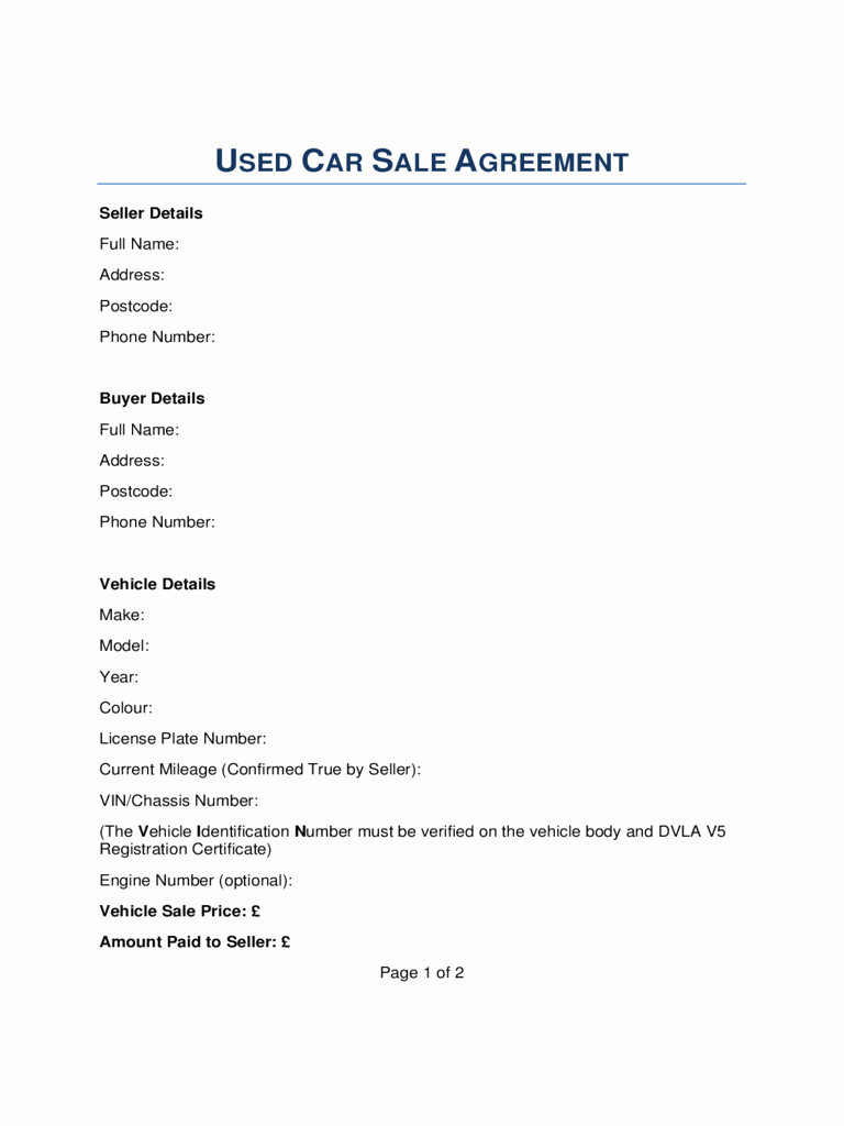 Used Car Sales Agreement Template Awesome Car Sale Contract form 5 Free Templates In Pdf Word
