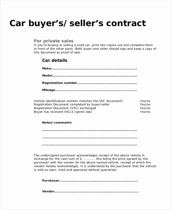 Used Car Sales Agreement Template Best Of Vehicle Purchase Agreement