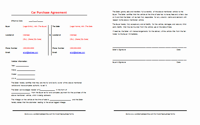 Used Car Sales Agreement Template Elegant Car Purchase Agreement Template Best Samples