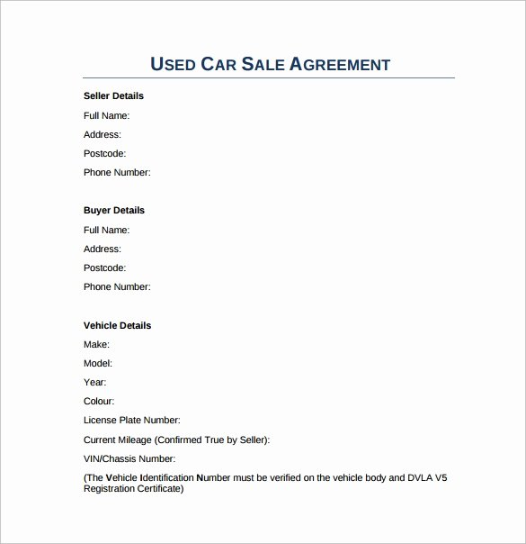 Used Car Sales Agreement Template Elegant Sales Agreement 10 Download Free Documents In Word Pdf