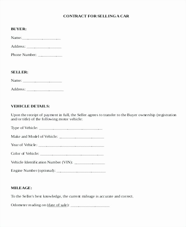 Used Car Sales Agreement Template Lovely Used Car Sales Agreement