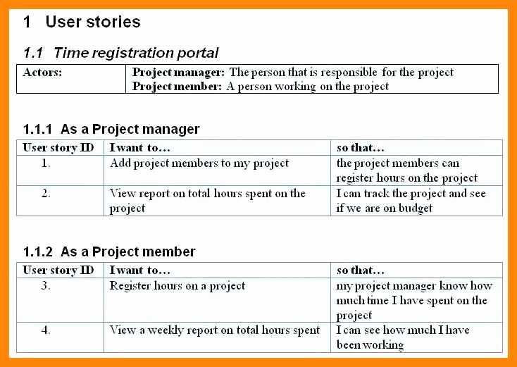 User Story Template Excel Inspirational 4 5 User Story Template Word