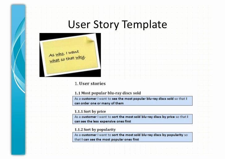User Story Template Excel Unique User Story Template