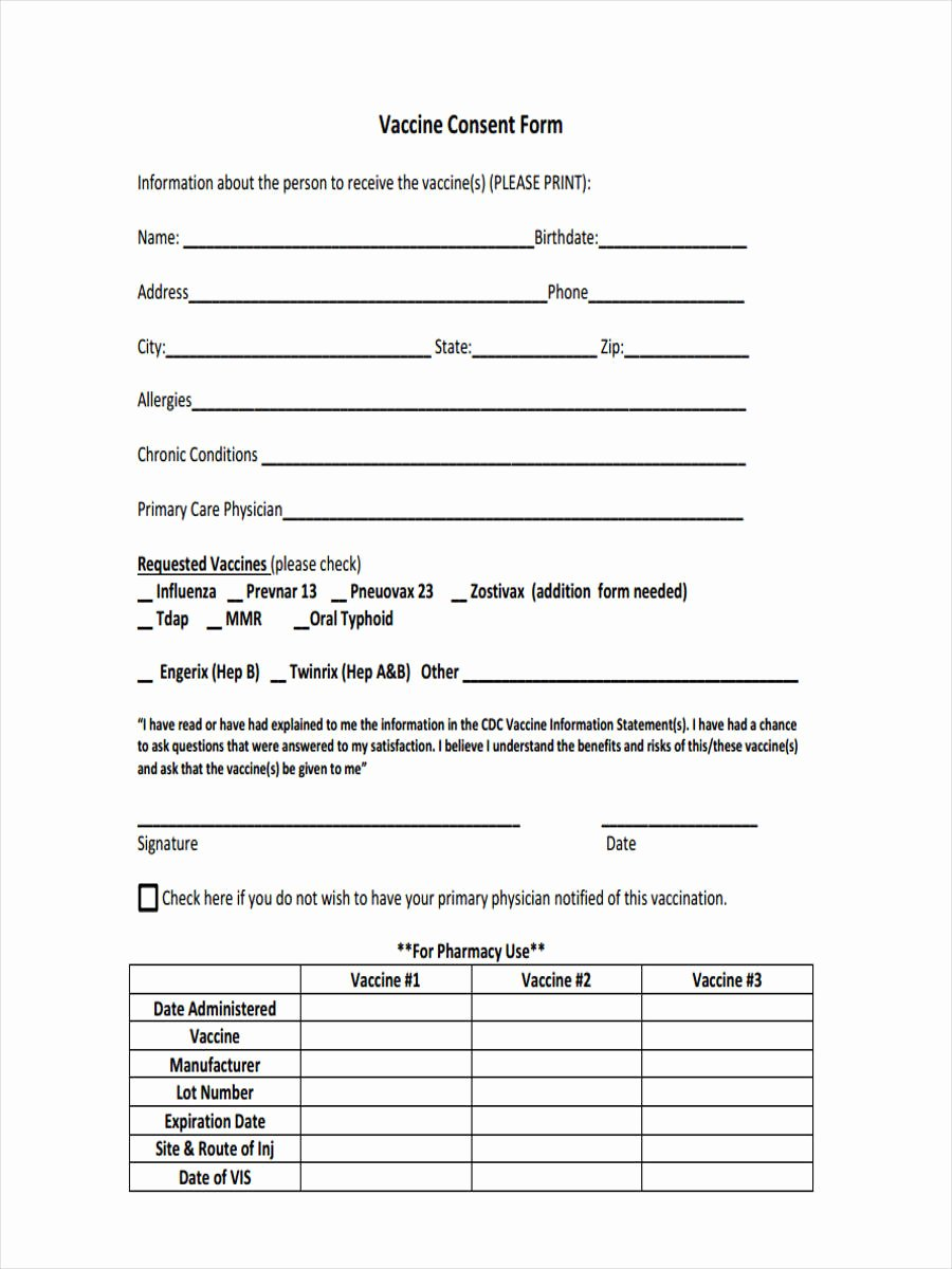 Vaccine Consent form Template Awesome Free 8 Vaccine Consent forms In Sample Example format