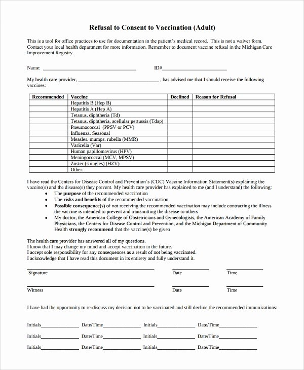 Vaccine Consent form Template Awesome Sample Vaccine Consent form 7 Free Documents Download