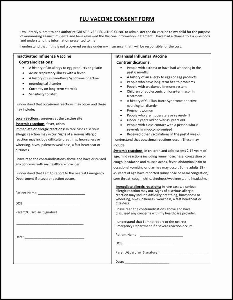 Vaccine Consent form Template Beautiful Flu Vaccine Consent form Template Spanish form Resume