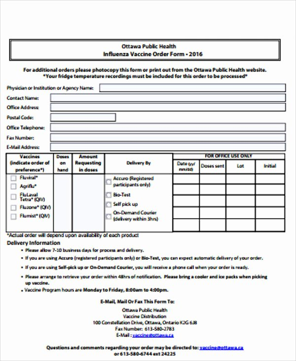 Vaccine Consent form Template Unique Sample Vaccine order form 9 Examples In Word Pdf