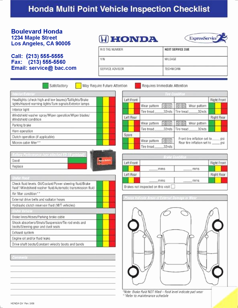Vehicle Inspection Checklist Template Beautiful Generic Multi Point Vehicle Inspection forms