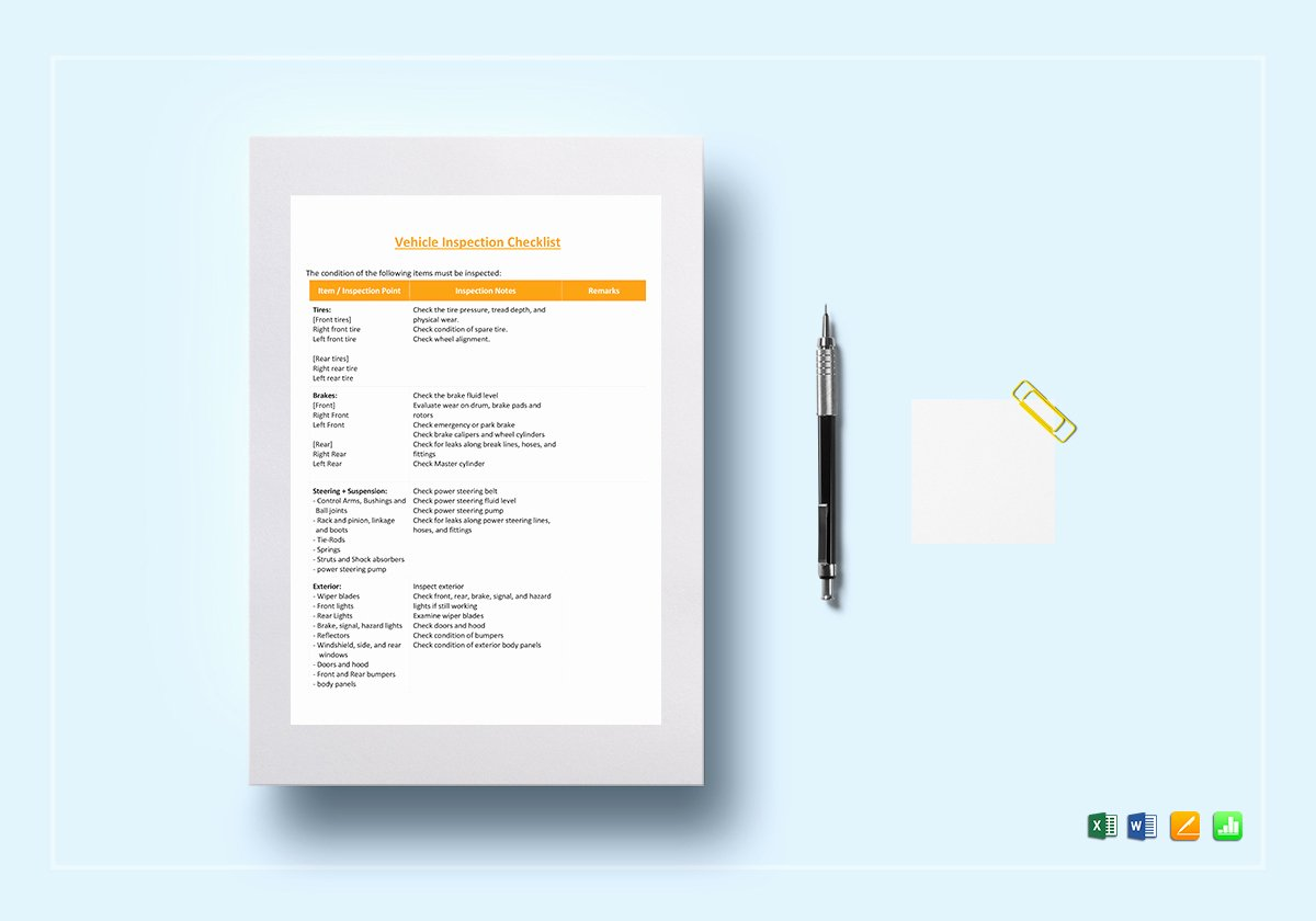 Vehicle Inspection Checklist Template Beautiful Vehicle Inspection Checklist Template In Word Excel