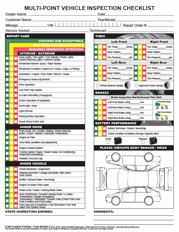 Vehicle Inspection Checklist Template Fresh Multi Point Inspection Checklist Bpi Dealer Supplies
