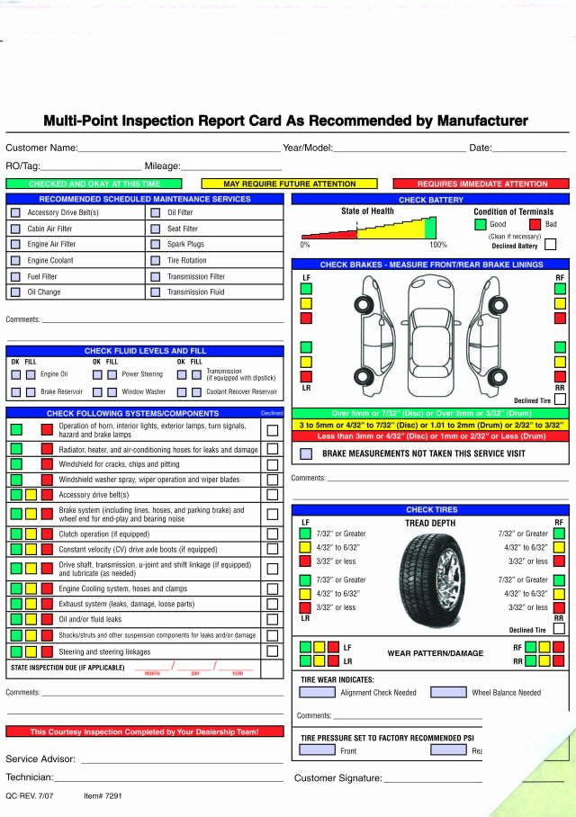 Vehicle Inspection form Template Awesome Free Printable Vehicle Inspection form Free Download